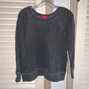N:philanthropy distressed sweatshirt pullover top